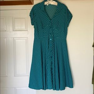 1940's teal polka dot dress